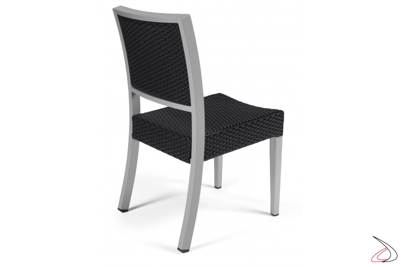 Garden chair with framed back in charcoal-grey colour