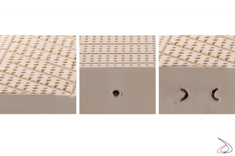 Materasso in lattice con fori passanti per riciclo dell'aria