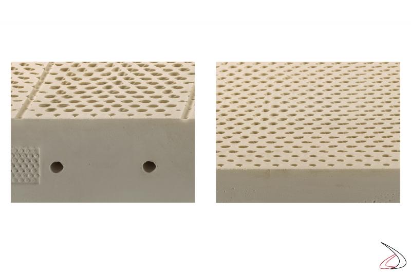 Materasso medio in lattice con fori passanti per aerazione