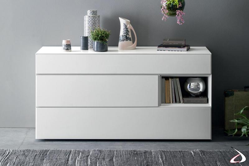 Comodino moderna bianco 1 cassetto componibile con apertura push pull