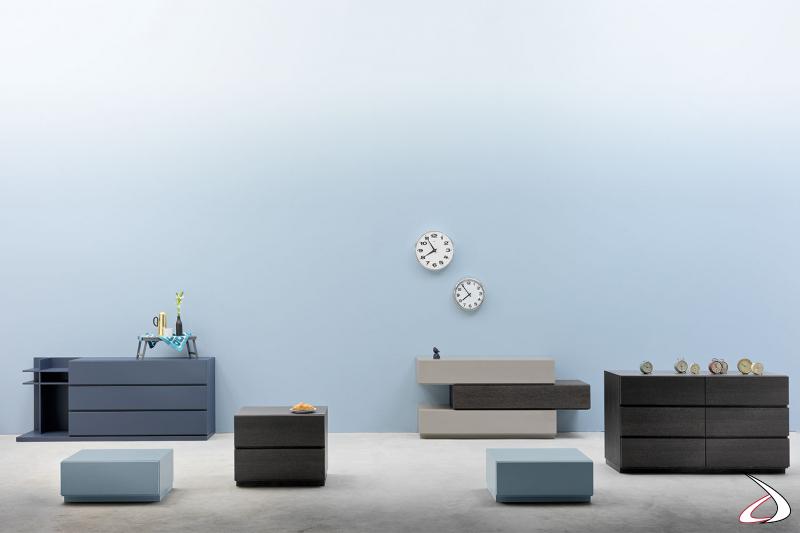 Arredo per la camera da letto completo di comodino, comò e settimino dal design minimalista. Possibilità di personalizzare gli arredi per renderli unici grazie ai moduli componibili