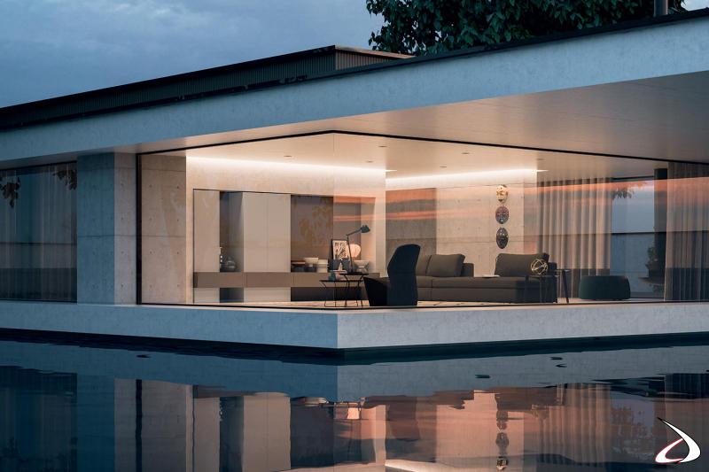 Parete attrezzata soggiorno moderna componibile su misura