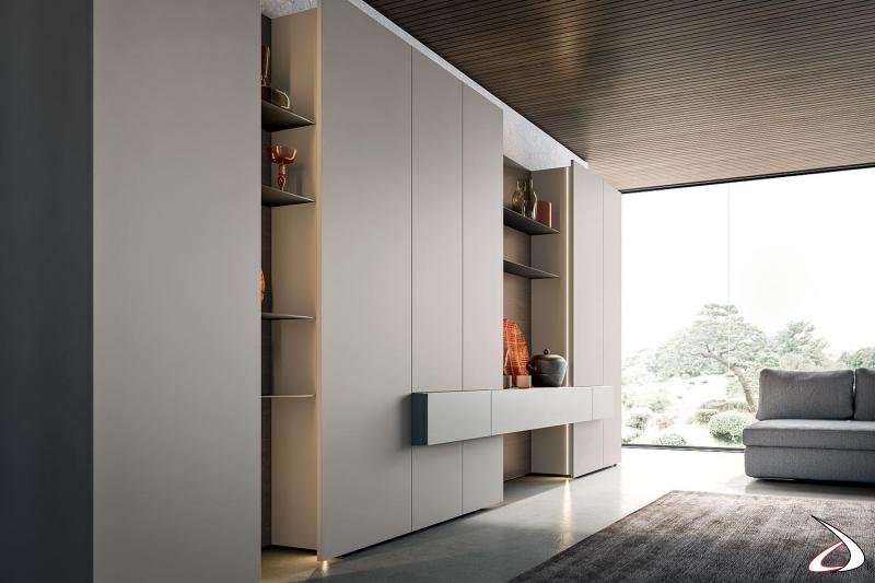 Parete attrezzata soggiorno design componibile realizzata con colonne alte e luci led