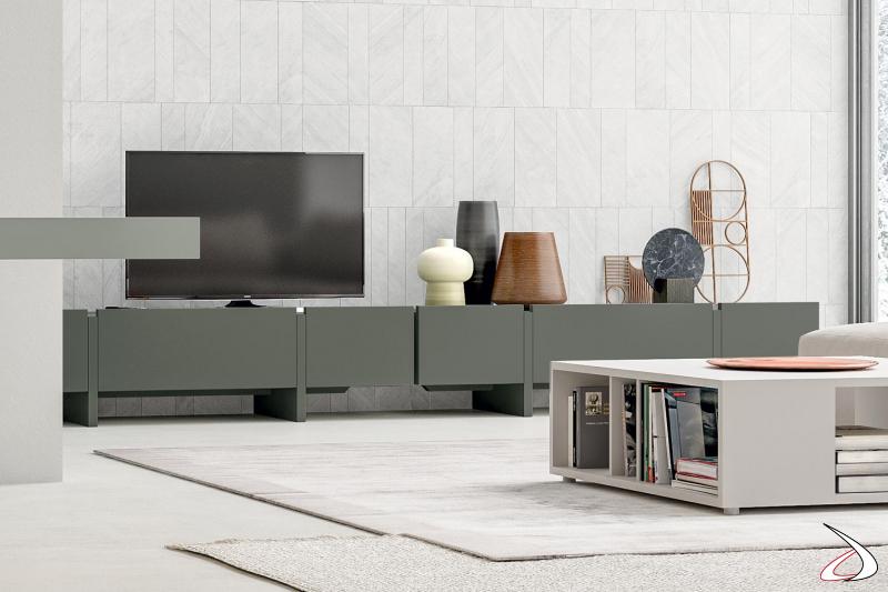 Mobile porta tv moderno di design in laccato opaco con anta a ribalta e cassetti