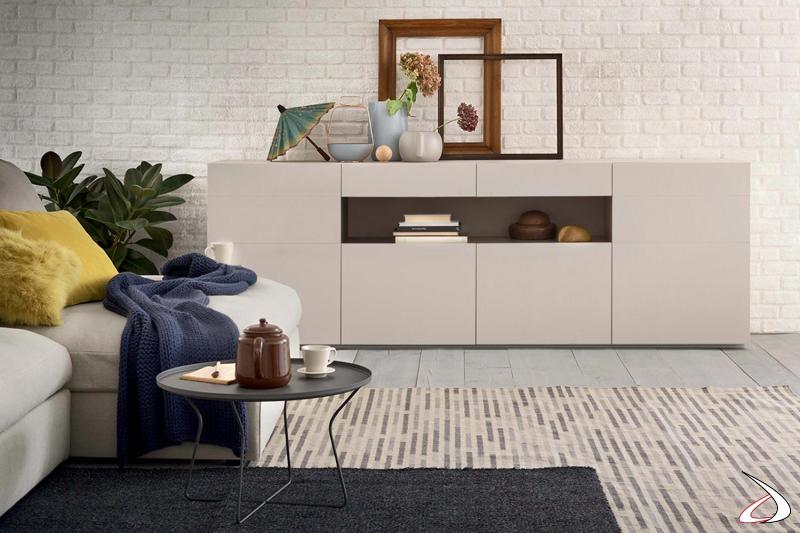Credenza moderna da soggiorno in laccato opaco con vano a giorno