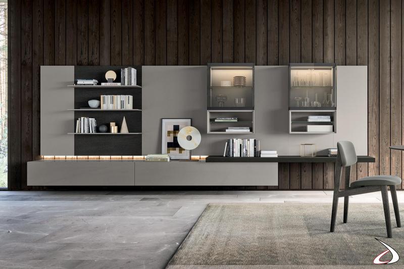Parete attrezzata moderna da soggiorno con basi cassetto ed eleganti vetrinette