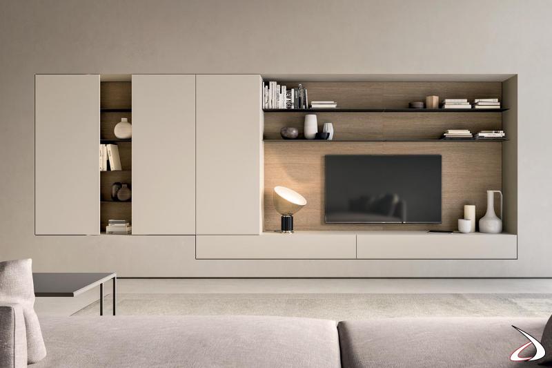 Parete attrezzata soggiorno di design su cartongesso con schienale porta tv