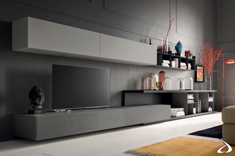 Parete attrezzata soggiorno moderna con soundbox incorporato e originale panca a C