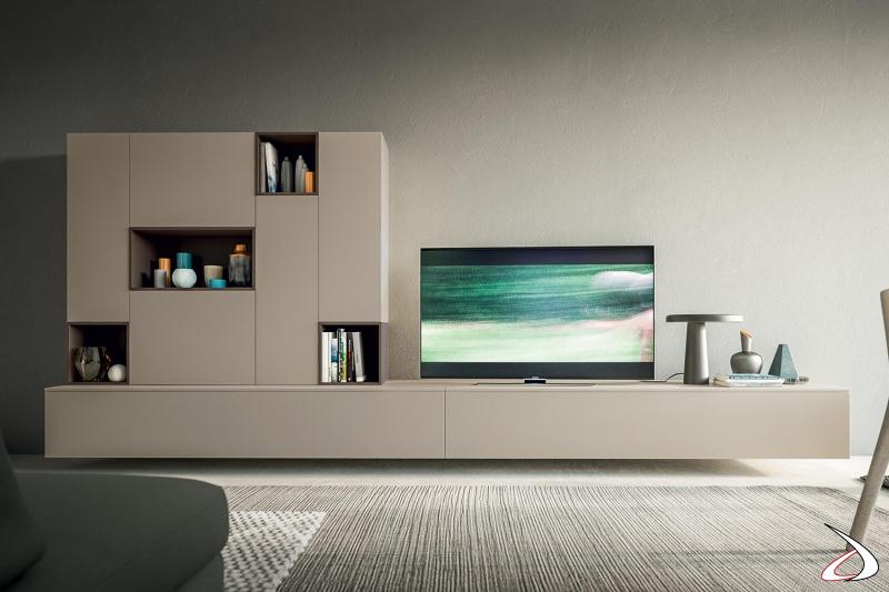 Parete soggiorno tv moderna e sospesa con ampi cassetti, pensili e cubotti a giorno