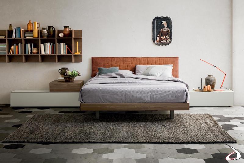 Camera da letto vintage con comodini componibili a 1 cassetto con apertura push pull