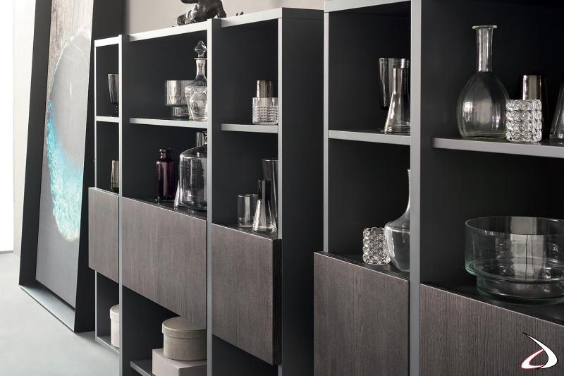 Libreria modulare di design da soggiorno in laccato opaco e in legno impiallacciato