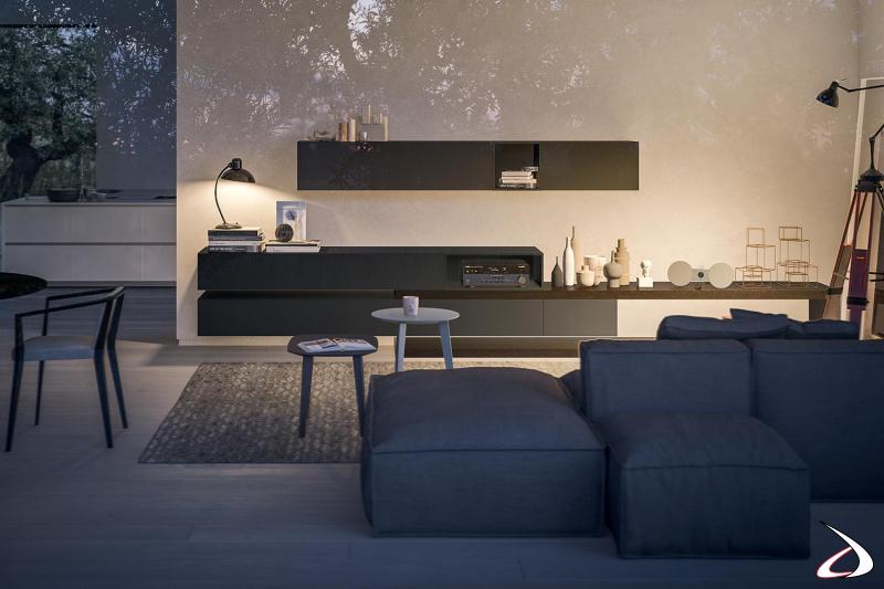 Soggiorno moderno in legno rovere e in laccato opaco con mensola a C porta tv