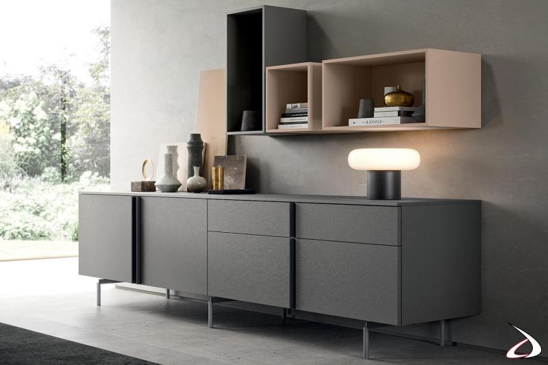 Credenza soggiorno moderna di design  con maniglie in nobilitato metal smoke