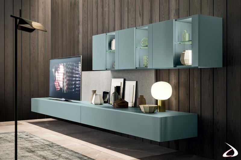 Mobile soggiorno moderno di design sospeso con pensili vetrina retroilluminati a led