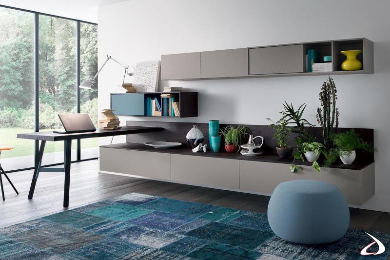 Parete attrezzata con scrivania ad angolo in legno impiallacciato di design