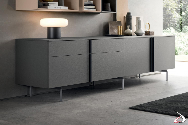 Credenza moderna bassa e lunga da soggiorno con ante e cassetti con maniglia