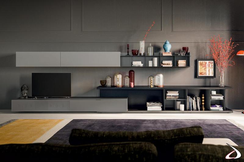 Parete attrezzata soggiorno moderna componibile con soundbox incorporato