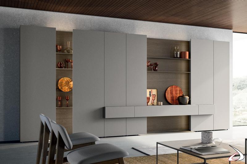 Parete attrezzata soggiorno di design componibile in laccato opaco e in impiallacciato