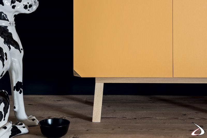 Solid beech full yellow designer wardrobe with high feet