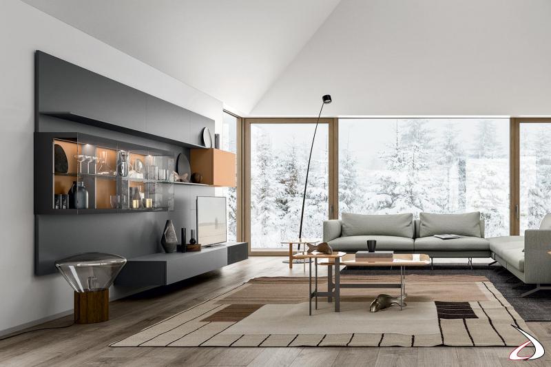 Arredo soggiorno e salotto open space moderno di design