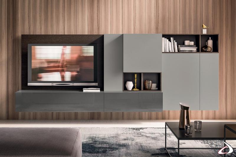 Parete attrezzata tv sospesa moderna personalizzabile nelle misure e nelle finiture