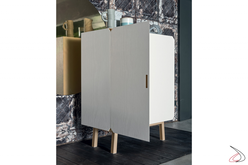 Solid beech modern sideboard for living room with high legs