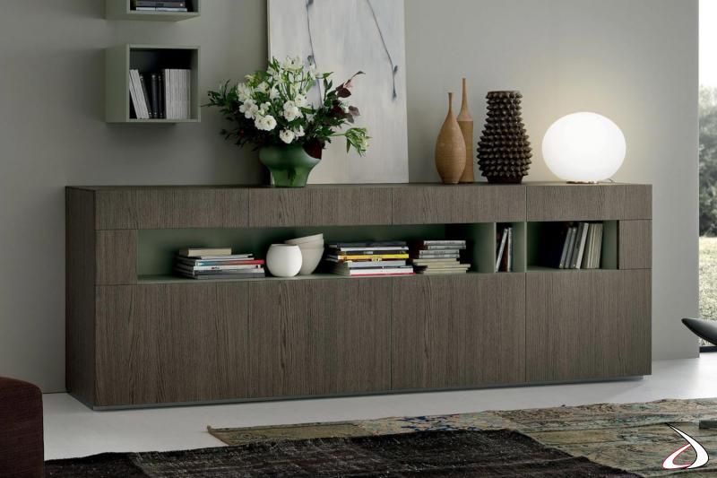 Credenza di design in legno con ante a c vano a giorno e cassetti superiori