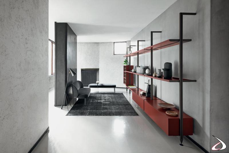 Arredo soggiorno con libreria a parete componibile moderna con pali