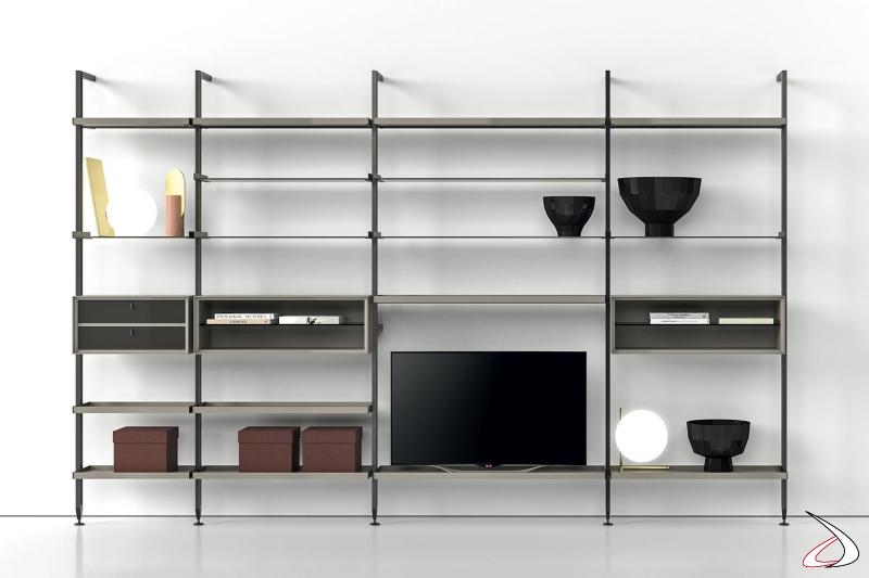 Libreria a parete di design componibile con ripiani in vetro, cassetti e ripiano porta tv