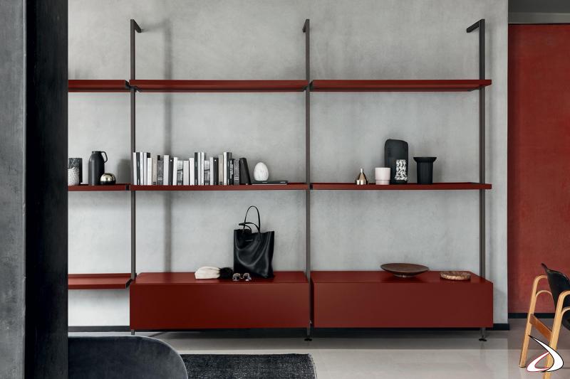 Libreria moderna a parete componibile con ripiani e cassetti regolabili in altezza