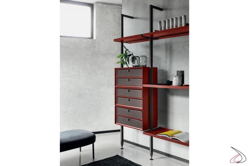 Libreria soggiorno a parete di design componibile con cassettiera alta