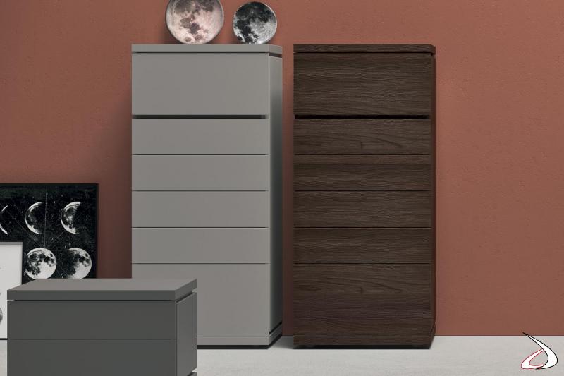 Settimanale per camera da letto a 6 cassetti in legno rovere o in laccato opaco