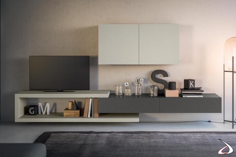 Mobile soggiorno piccolo sospeso di design in nobilitato