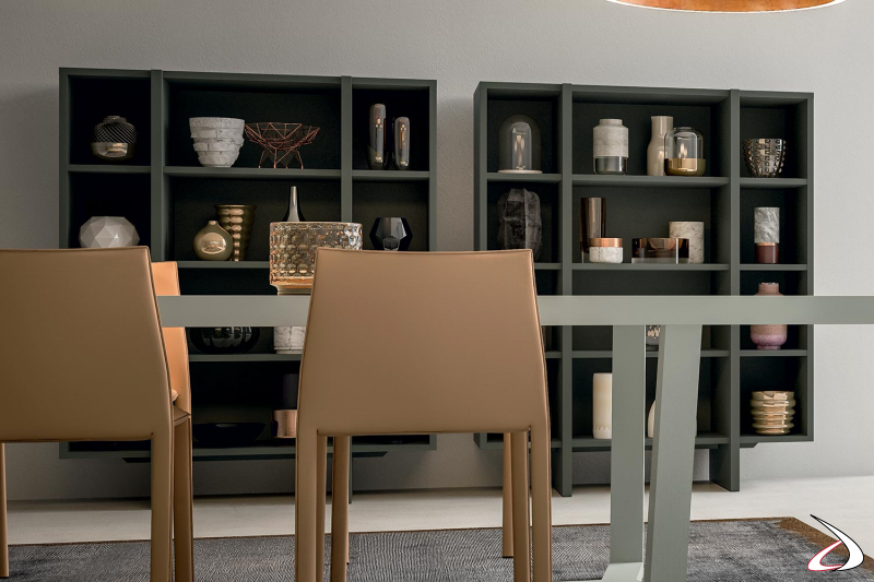 Libreria moderna per sala da pranzo con ripiani interni e vani a giorno