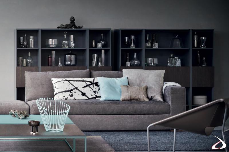 Mobile libreria di design da salotto in laccato opaco con ante in legno impiallacciato