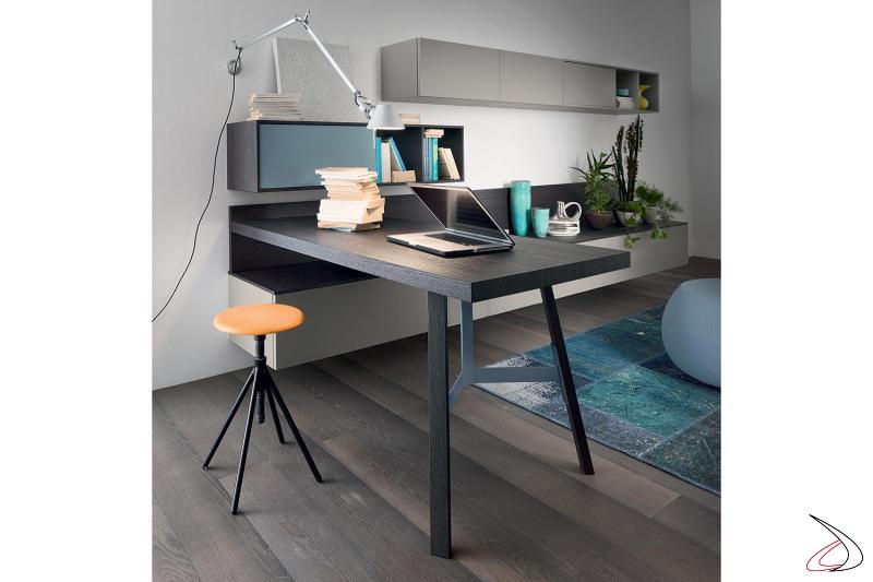 Parete attrezzata sospesa di design con piano scrivania ad angolo in legno impiallacciato