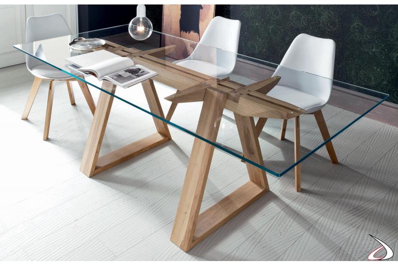 Tavolo design fisso in vetro