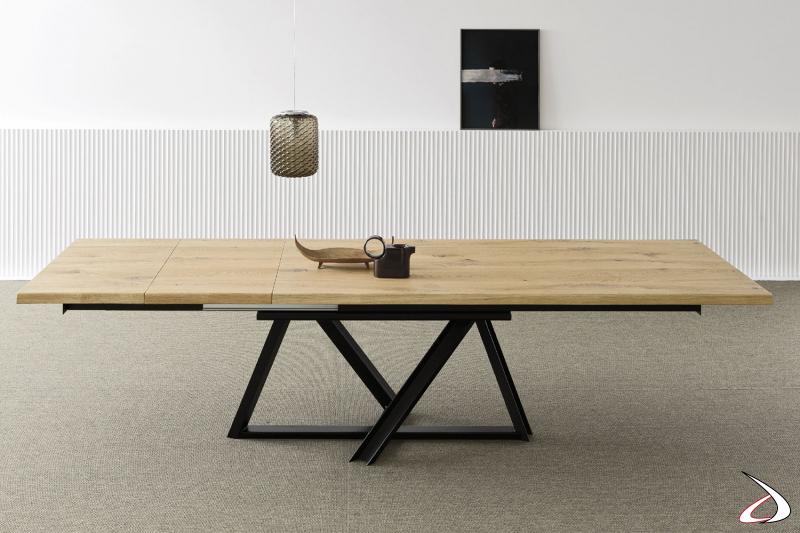 Tavolo allungabile con piano in rovere massello kuba