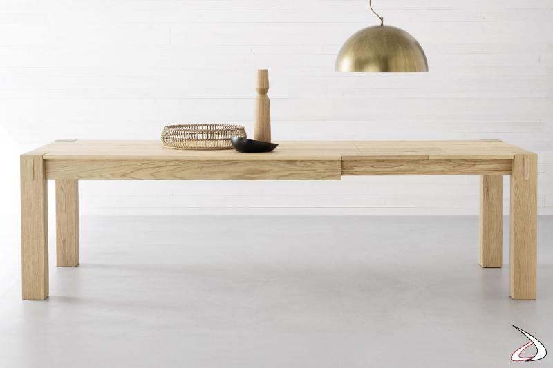 Tavolo rettangolare in rovere naturale allungabile con sistema tradizionale