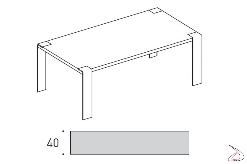 Tavolo di design in legno con gambe in ferro o cristallo