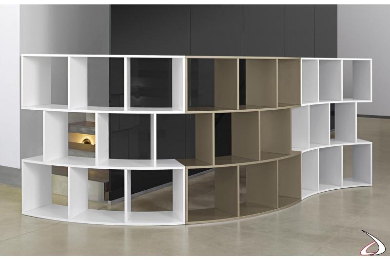 Libreria moderna bassa in legno componibile