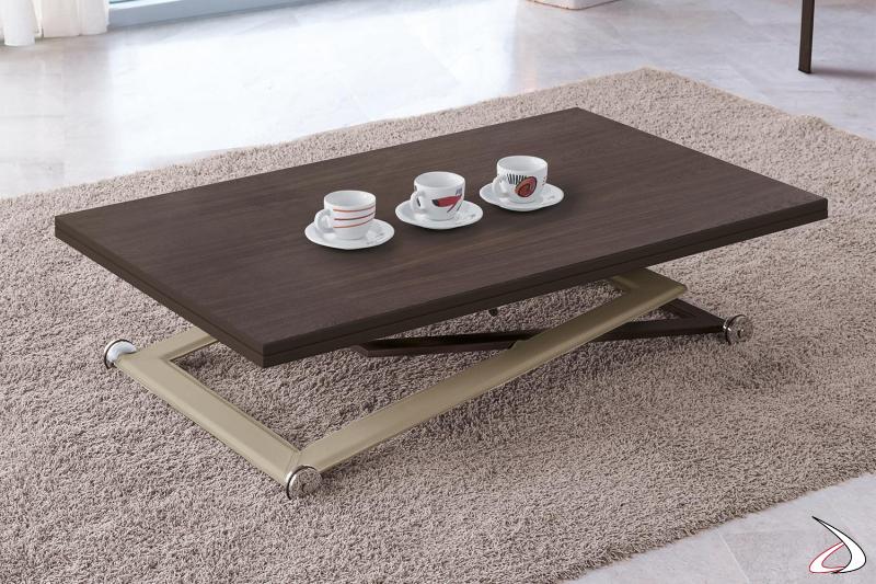 Tavolino da salotto moderno regolabile in altezza e trasformabile in tavolo da pranzo
