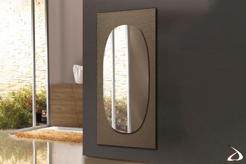 Specchio alto ovale di design da soggiorno con cornice in vetro cotto forgiato bronzo
