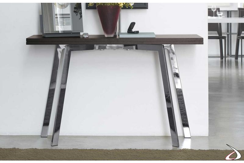 Tavolo consolle allungabile moderna in legno da soggiorno