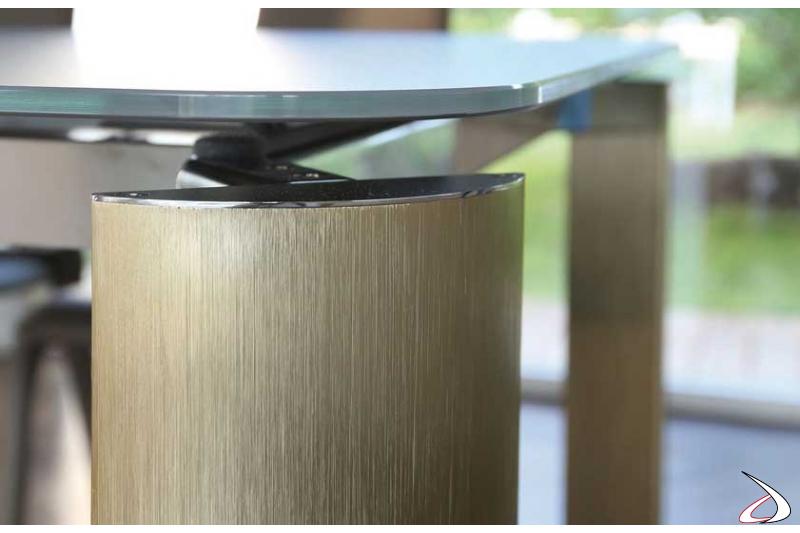 Gambe in alluminio quarzo per tavolo allungabile da soggiorno