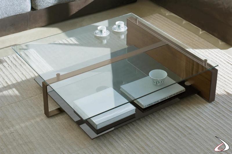 Tavolino basso quadrato da salotto di design con due piani in vetro
