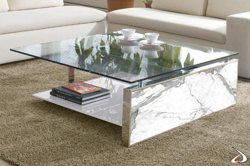 Tavolino quadrato dal design di lusso con piano in vetro e gamba in ceramica bianco statuario