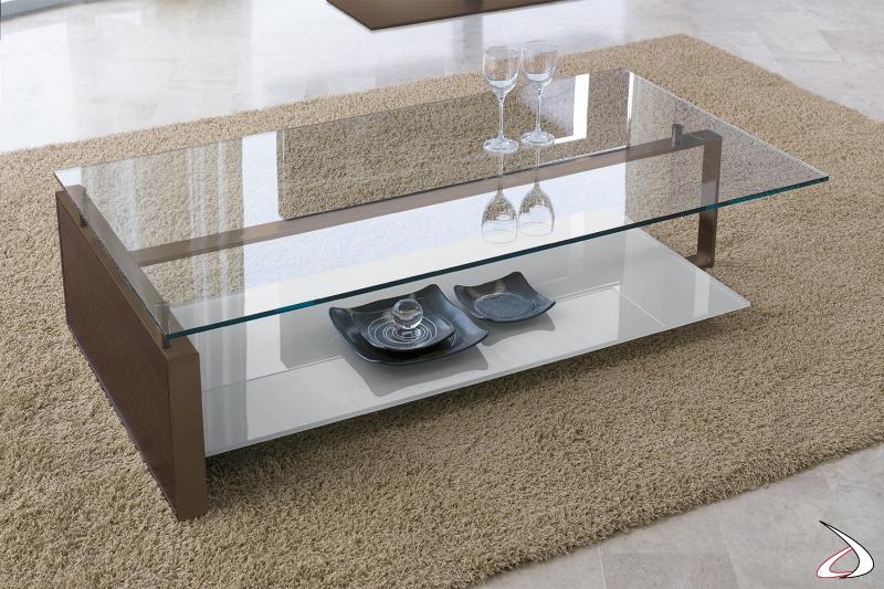 Tavolino basso da salotto con piano in vetro trasparente e ripiano inferiore in vetro bianco