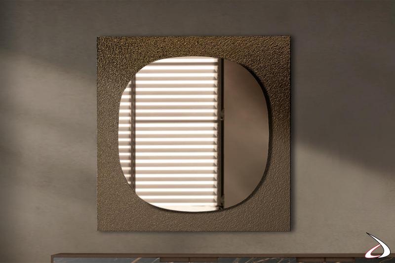 Specchio rotondo moderno da soggiorno con cornice in vetro cotto forgiato