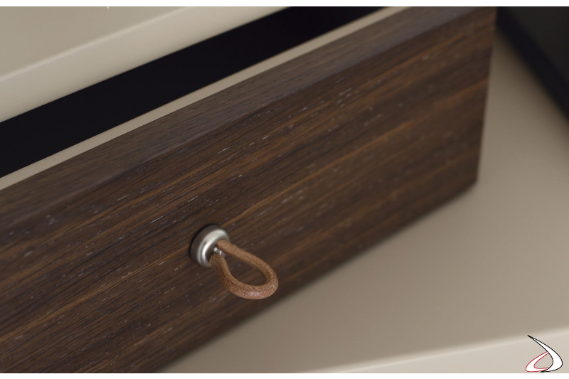 console's drawer with fabric handle
